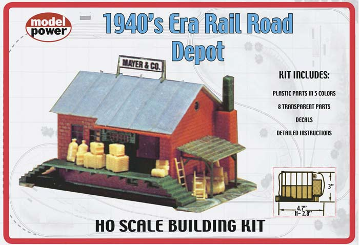HO 1940's Era RR Depot Building Kit