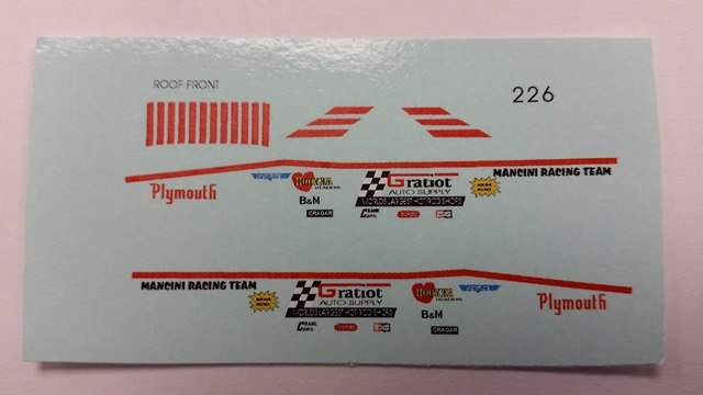 """Mancini Racing Team"" Decal Set"