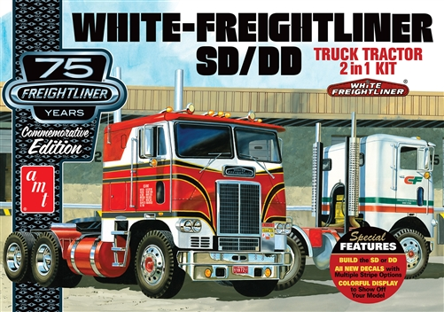 White Freightliner 2-in-1 SC/DD Cabover Tractor (75th Anniversary) 1:25 Model Kit