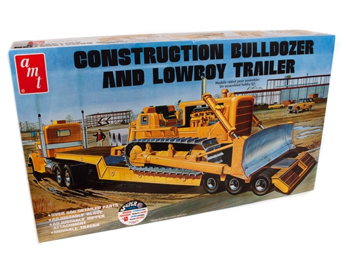 Lowboy Trailer & Bulldozer Combo 1:25 Plastic Model Kit