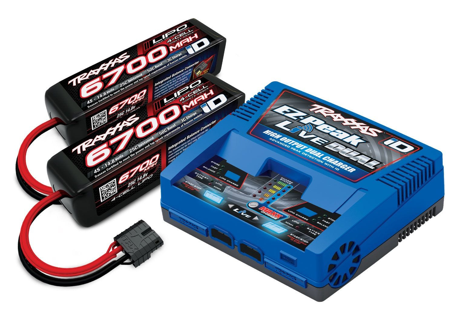 Battery/Charger Completer Pack; Dual iD Charger, 2 - 6700mAh 14.8V 4S 25C LiPo Battery