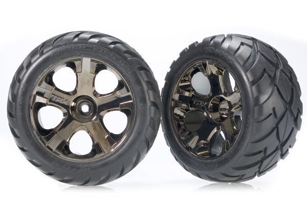 Front Black Chrome All-Star Wheels w/Anaconda Tires: Stampede, Rustler, Bandit